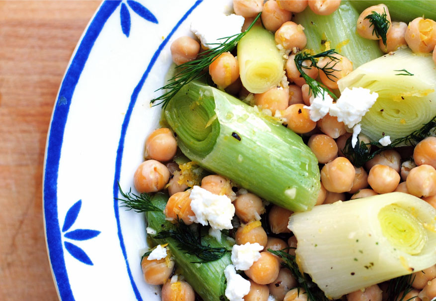 leek salad with chickpeas and feta